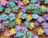 Mini pastel royal icing flowers -- Edible cake decorations cupcake toppers (24 pieces)