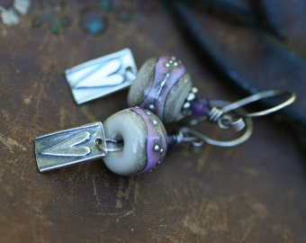 Rustic Pink Artisan Lampwork 'Heart' earrings n253- sterling silver . delicate minimalist sterling silver jewelry . heart in handmade . pink