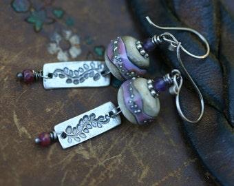 Rustic Pink Artisan Lamp work 'Leaves' earrings n202- sterling silver . delicate minimalist sterling silver jewelry . Autumn in  pinkish