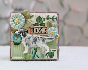 HUGS, blue flowers and dog, mosaic wall art, gift