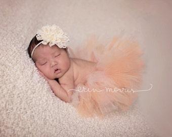 Peaches and cream tutu set, coral and cream tutu, coral and ivory tutu set, ivory headband, tutu set, newborn tutu set, newborn baby tutu