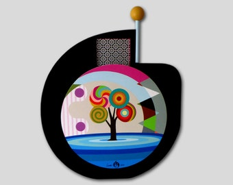 Unique Abstract Tree Painting, Geometric Art, Original Abstract Pop Art on Wood, Original Acrylic Painting, 3D Wall Art, Wooden Sculpture