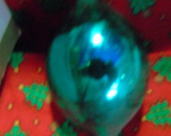 Vintage deep aqua Teardrop eggdrop Christmas tree ornament