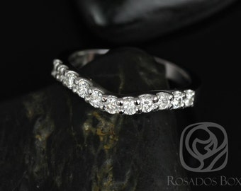 14kt White Gold Matching Band to Trisha 7mm Diamonds HALFWAY Band (Other metals available)