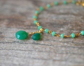 Green aventurine teardrop bracelet Delicate bracelet Chalcedony bracelet Dainty Bracelet Rosary chain bracelet  Gemstone friendship bracelet