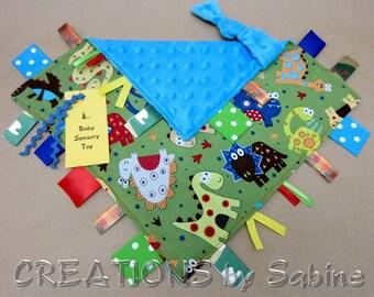 Baby Tag Blanket Sensory Toy Dinosaur Camo Ribbons Blue Red Green Yellow Minky Toddler Dino Toy Lovie Softie Dinos Boy READY TO SHIP (265)