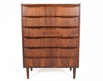 Danish Modern Mid Century Tibergaard Highboy Dresser in Rosewood