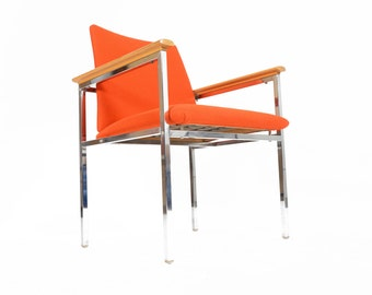 Danish Mid Century Modern Oak and Chrome Lounge Chair