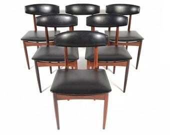 Set of Six Danish Mid Century Modern Kofod Larsen Style Rosewood Dining Chairs