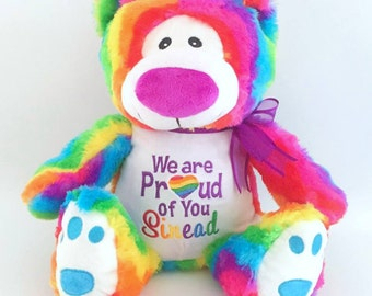 Gay Pride Bear; Personalised Teddy Bear; Embroidery Bear; Rainbow Bear; Lesbian gift; Gay Pride; Personalised Rainbow Bear; LGBT
