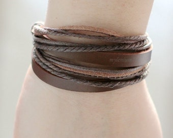 636 Brown leather bracelet Leather bands bracelet Ropes bracelet Men bracelet Women bracelet Wrapping bracelet Jewelry For men and women