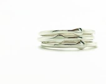 Dewdrop rings, droplet rings, sterling silver stackable rings, three stacking drops ring, raindrop ring, set of 3 rings, handmade rings
