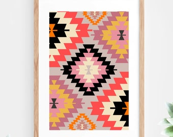 Aztec Geometric Printable Wall Art Instant Download Aztec Pattern Red Black Yellow Pink Contemporary Minimalist Wall Decor Art Print Aztec