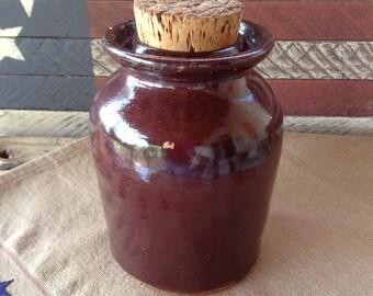 Vintage Mustard Stoneware Crock Jar with Cork Primitive Rustic Farmhouse Decor Kitchen Storage Pantry Item