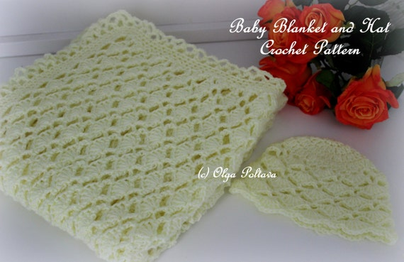 Lacy Shells Baby Blanket and Hat, Crochet Patterns, Easy to Make, Instant PDF Download