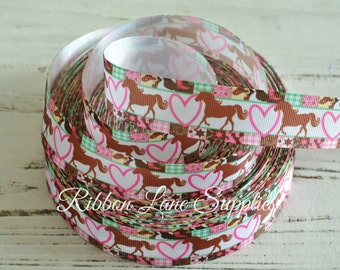"""1"""" Ribbon by the Yard-Country Girl Horses-Equstrian grosgrain ribbon-supplies by Ribbon Lane Supplies on Etsy"""