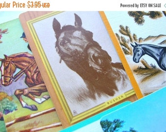 July Sale 10 Vintage Horse Playing Cards - Horses - Vintage Ephemera - Swap Cards - Horse Races - Equestrian
