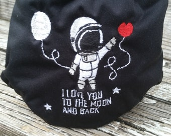 I love you to the moon and back embroidered pocket diaper