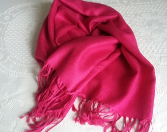 SUMMER 50%OFF SALE Vintage Long Fushia Hot Pink Pashima Scarf Wrap Shawl, Summer Wedding
