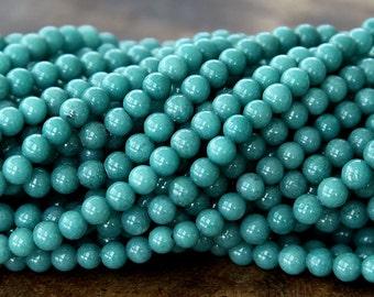 Mountain Jade Beads, Cadet Blue, 6mm Round - 15 Inch Strand - eMJR-B44-6