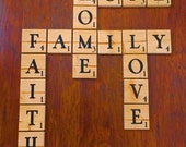 Scrabble Tiles, Personalized Wood Scrabble Tiles, wood letters, Wood Scrabble Letters, Game room decor, wall art, wedding table numbers
