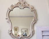 vintage  pink gold  mirror, French decor,  Vintage shabby chic ornate mirror ornate cream pale pink gold fancy frame handpainted distress