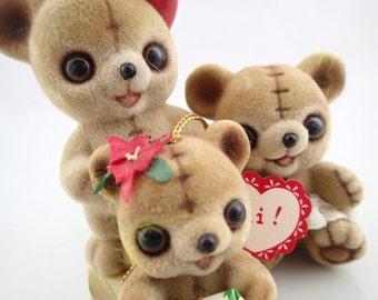 Josef Original Flocked 3 Teddy Bears Vintage Fuzzy Animals Momento Baby Girl Fireman Christmas Ornament Brown Kawaii Ceramic