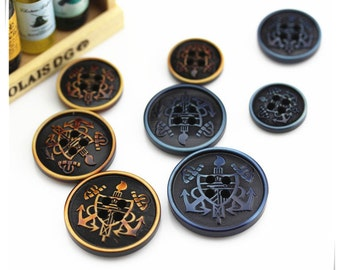6 pcs 0.59~0.98 inch Hi-grade Brown/Blue Laser Shield Anchor Plastic Shell Buttons for Suits Coats