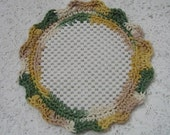 Crocheted Lid Jar Bottle Opener Tan and Sage Green