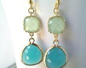 Mint Blue Gold Dange earrings, Mint Wedding Earrings, Drop, bridesmaid gifts,dangle, Turquoise blue earrings