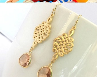 Spring Rain -Celtic knot Gold Earrings,Drop, Dangle, Glass Earrings, gemstone,bridesmaid gifts,Wedding jewelry