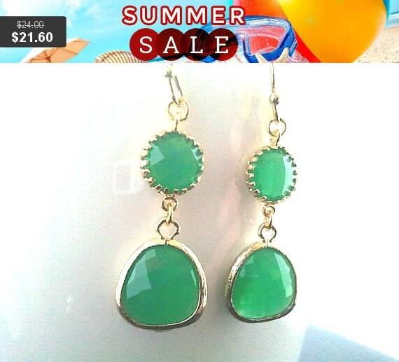 Palace Green Gold Earrings,Drop, Dangle, Gemstone Earrings, bridesmaid gifts,christmas earrings,Gemstone, Valentine' Day