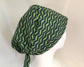 Scrub Hat Tie Back Pixie Style fabric Navy and Green Chevron