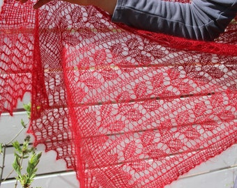 Bright, bold and beautiful, modern Victorian lace shawl, handknitted in a firey kid-mohair & silk blend yarn