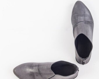 SALE 30% OFF Gray leather booties, Asymmetric leather booties