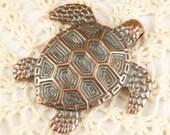 Large Rustic Copper Tone Turtle Casting Pendant , Mykonos Casting Beads M37 - X5607
