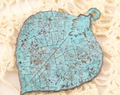 Realistic, Life-Sized Lime or Birch Leaf Pendant,  Mykonos Casting, Patina (1) - M89