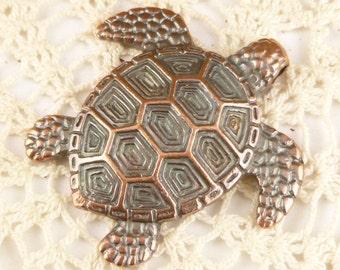 Large Rustic Copper Tone Turtle Casting Pendant , Mykonos Casting Beads M37