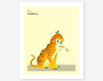 T is for TIGERILLA, Surreal, Animal Pop Art, Giclée Fine Art Print for the Home Decor