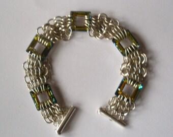 Crystal Squares Bracelet in Sterling Silver