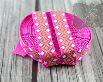FUCHSIA Aztec Gold Foil FOE,  5/8 inch Fold Over Elastic, Gold Metallic Aztec Elastic, Foil FOE, Headband Supply, Hairties, 1 or 3 Yards