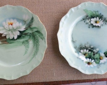 Hand Painted Signed Floral Plates, M.E. Dunn, France, Table Decor, Home Decorating, Vintage Porcelain,