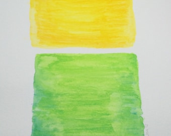 Original water color painting, 9x12, yellow and green