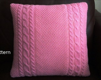 PDF Pattern, How To Knit A Cable And Moss Stitch Pillow, 16in x 16in