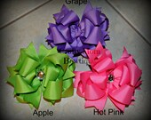 SET of 3 Spring Solid Color Boutique Style Bows / Hair Bow / Hairbow / Over the Top / Apple / Grape / Hot Pink / Bundle