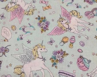 Cute Unicorn Pegasus Print Japanese Fabric Light Green - 110cm x 50cm