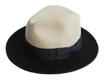 Two tone fedora hat , Mens fedora hat , Fedora felt hat , Winter Felt Hat , Fedora , Mens fedora , Fedora hat , Wide brim fedora