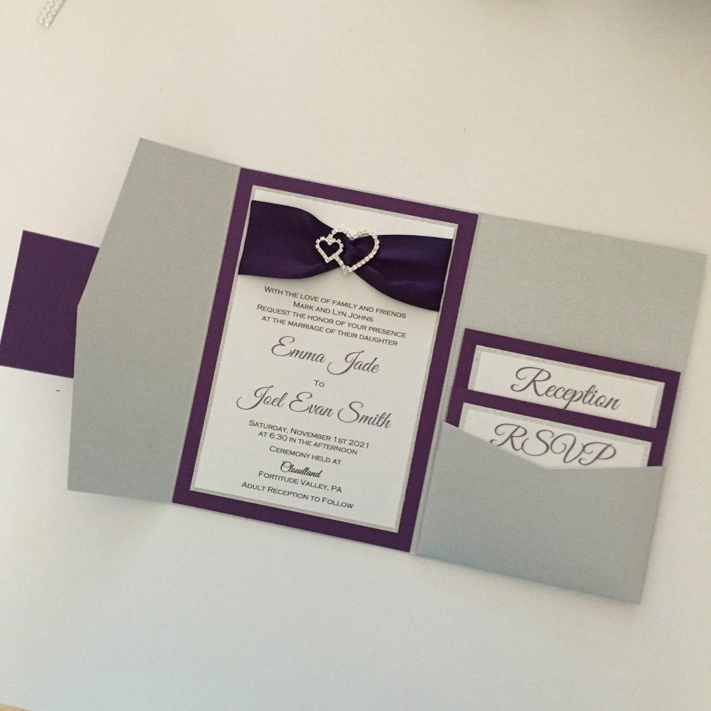 Purple Double Heart Wedding Invitation Wedding Invitation
