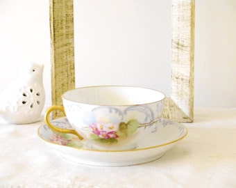 Victorian Porcelain Hand Painted Tea Cup and Saucer