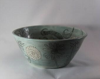 Teal Flora Large Bowl